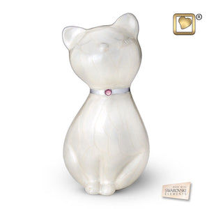 White Princess Cat Pet Funeral Cremation Urn, 43 Cubic Inches