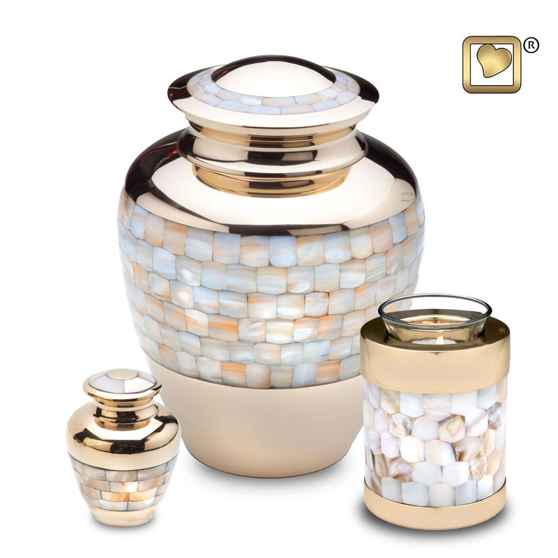 Mother of Pearl Child/Pet Funeral Cremation Urn,  55 Cubic Inches