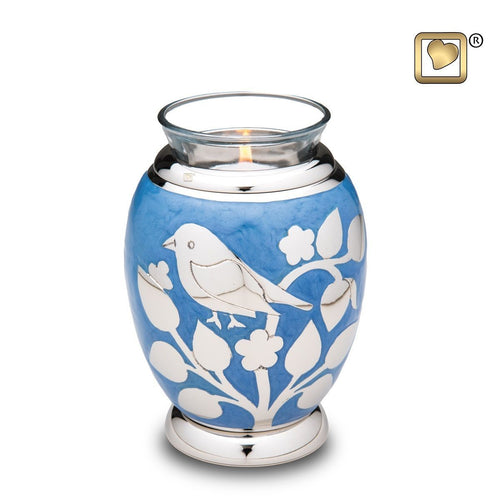 Silver Blessing Birds Infant/Child/Pet Tealight Funeral Cremation Urn, 20 Cu In