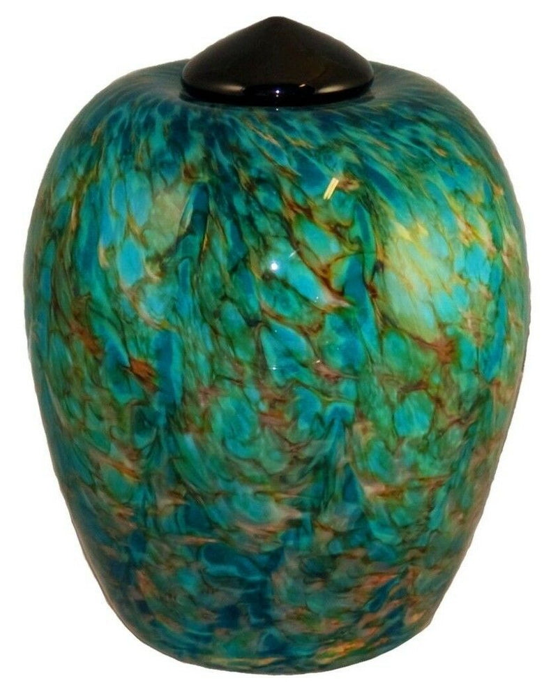 Large/Adult 220 Cubic Inch Florence Aegean Funeral Glass Cremation Urn for Ashes