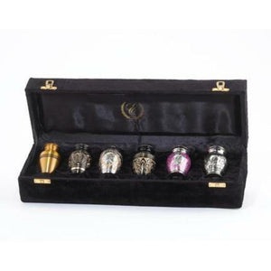 Set of 6 Funeral Cremation Urn Keepsakes for Ashes with Velvet Display Case