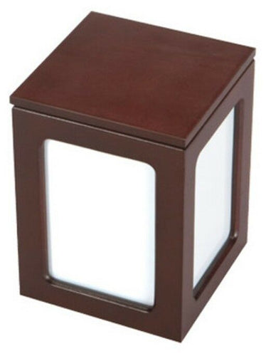 Small/Keepsake Brown Wood 80 Cubic Inches Funeral Cremation Urn with Photo Frame