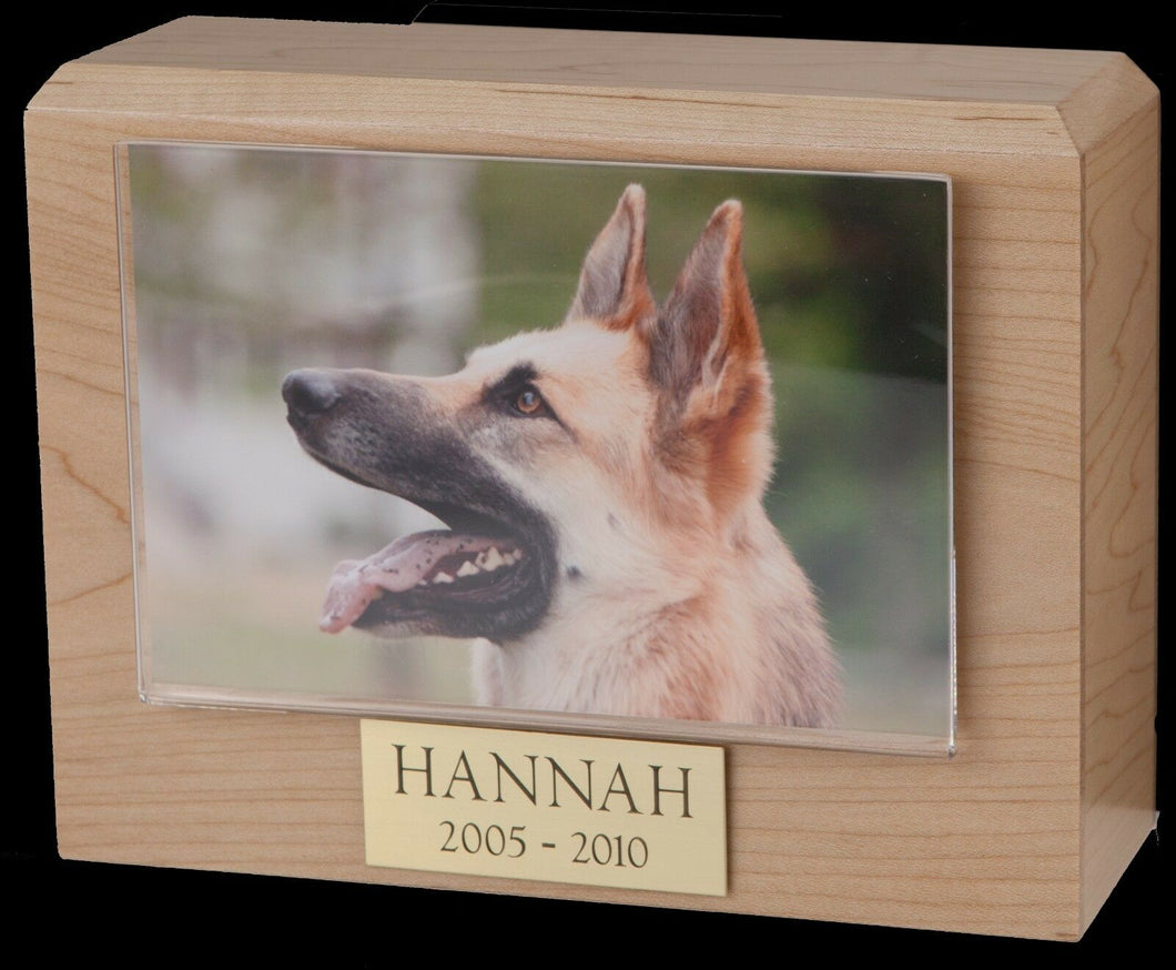 Small 85 Cubic Inches Maple Pet Photo Urn for Ashes with Engravable Nameplate