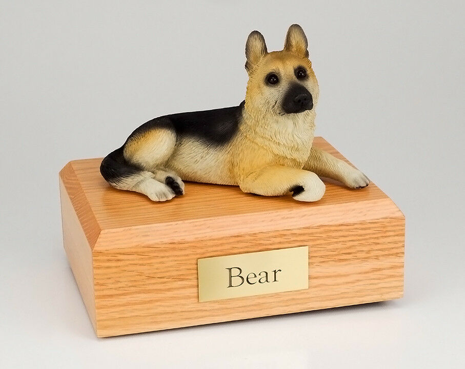 German Shepherd, Tan Pet Funeral Cremation Urn Avail in 3 Diff Colors & 4 Sizes