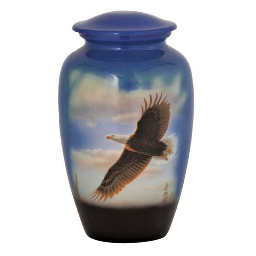 Large/Adult 210 Cubic Inch Metal Soaring Eagle Funeral Cremation Urn for Ashes