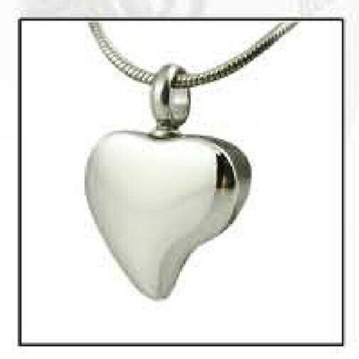 Tear Drop Heart Stainless Steel Cremation Urn Jewelry Pendant w/Chain