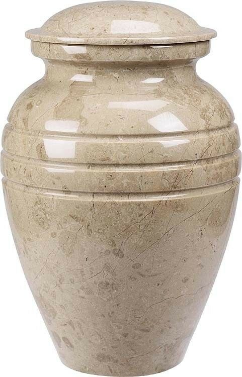 Cream  Color, Adult Funeral Cremation Urn made out of a block of Solid Marble