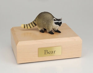 Raccoon Figurine Wildlife Cremation Urn Available in 3 Diff. Colors & 4 Sizes