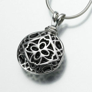 Sterling Silver Filigree Round Memorial Jewelry Pendant Funeral Cremation Urn