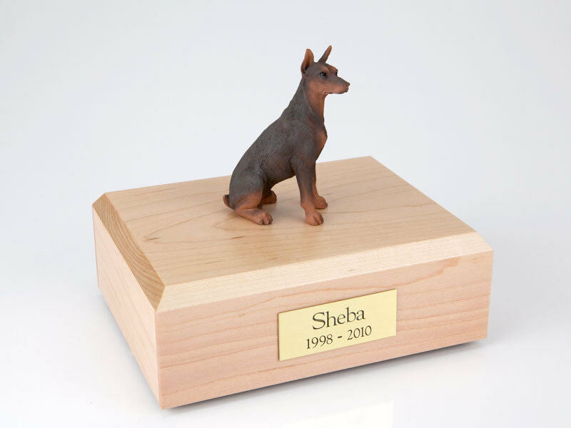 Doberman Red Pet Funeral Cremation Urn Avail in 3 Different Colors & 4 Sizes