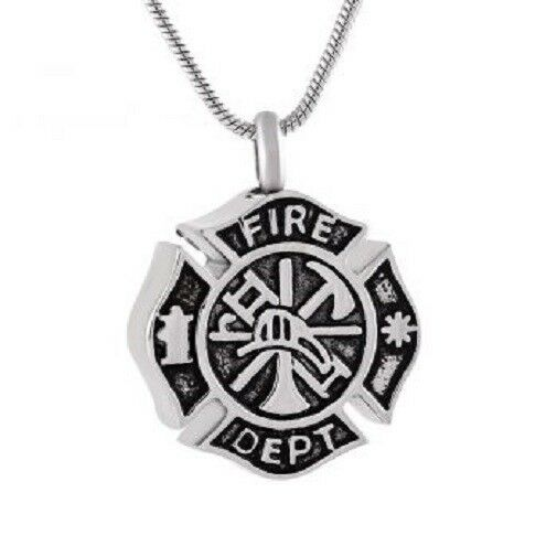 Stainless Steel Fire Dept Badge Funeral Cremation Urn Pendant for Ashes w/Chain