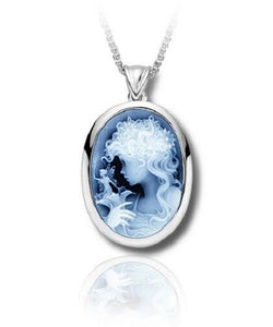 Sterling Silver & Blue Agate Fairy Cameo Funeral Cremation Urn Pendant w/Chain