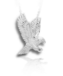Sterling Silver Eagle Funeral Cremation Urn Pendant for Ashes w/Chain