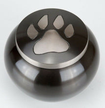 Load image into Gallery viewer, 80 Cubic Inches Nickel/Gray Brass Pawprint Pet Jar Urn for Cremation Ashes