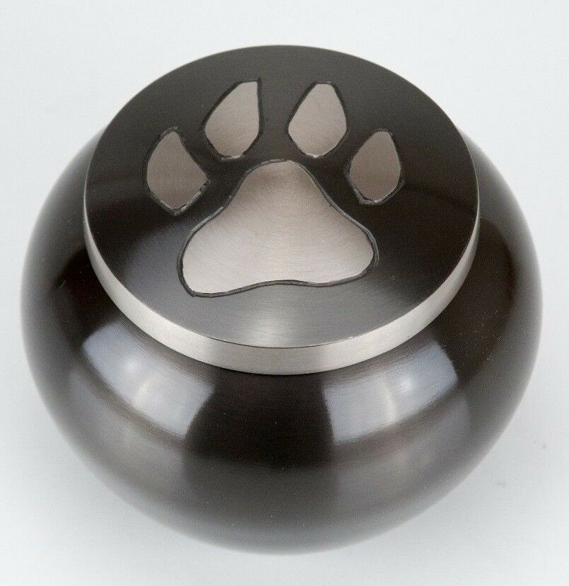 80 Cubic Inches Nickel/Gray Brass Pawprint Pet Jar Urn for Cremation Ashes