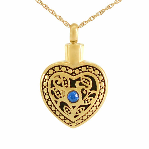 Small/Keepsake Blue Crystal Floral Gold Pendant Funeral Cremation Urn for Ashes