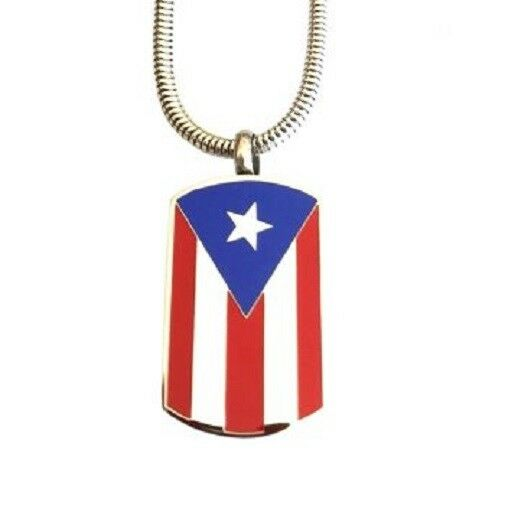 Stainless Steel Puerto Rican Flag Dog Tag Cremation Urn Pendant with Chain