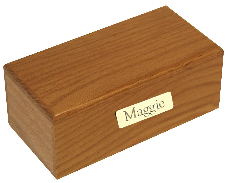 Small/Keepsake 15 Cubic In. Simply Oak Funeral Cremation Urn With Engraved Plate