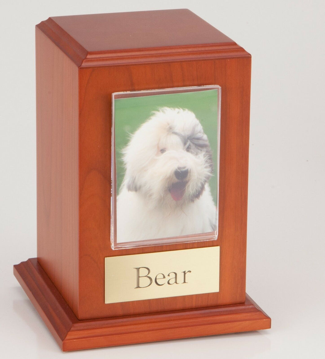Small 35 Cubic Ins Cherry Pet Tower Photo Urn for Ashes w/Engravable Nameplate