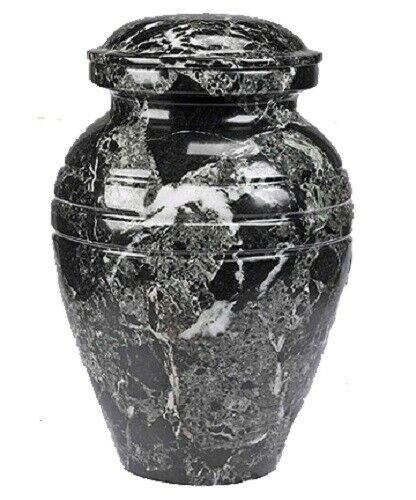 Black Natural Solid Marble Infant/Child/Pet Size Funeral Cremation Urn With Box