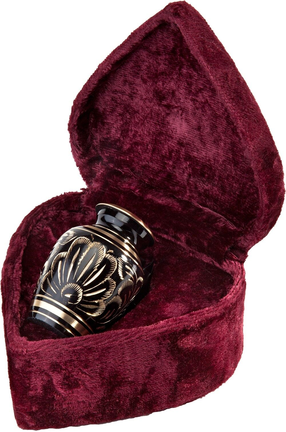 Black and Gold Color, Brass Funeral Cremation Urn Keepsake w. Velvet Heart Box