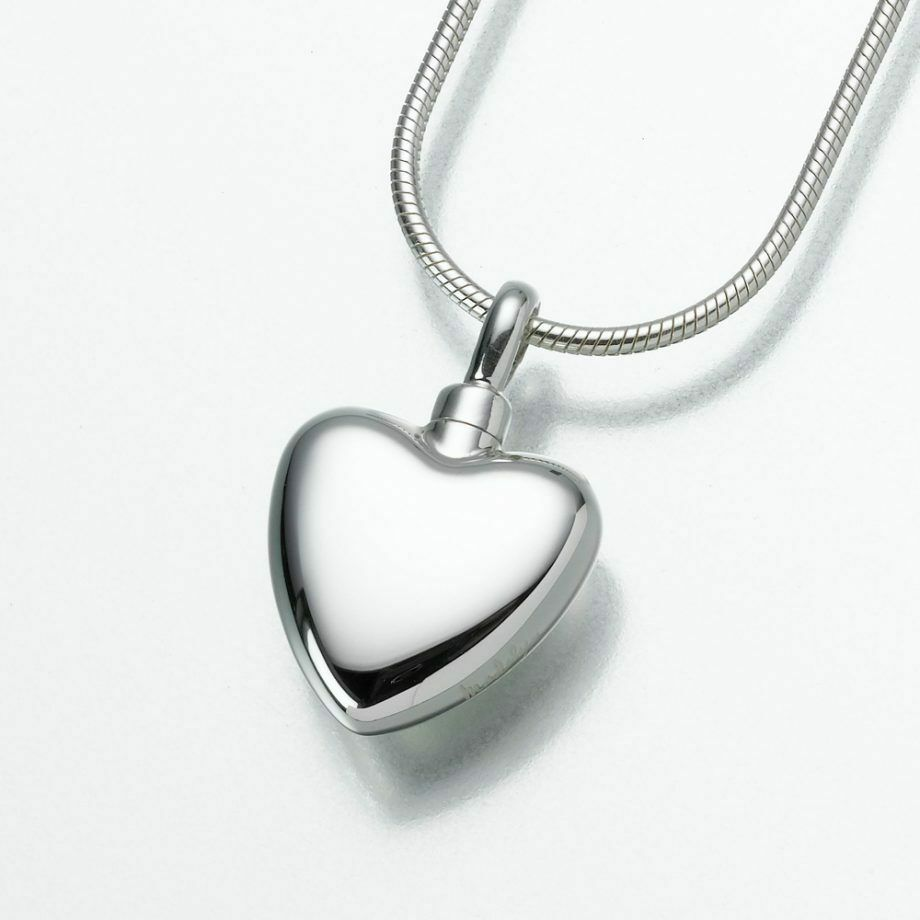 Sterling Silver Small Heart Memorial Jewelry Pendant Funeral Cremation Urn