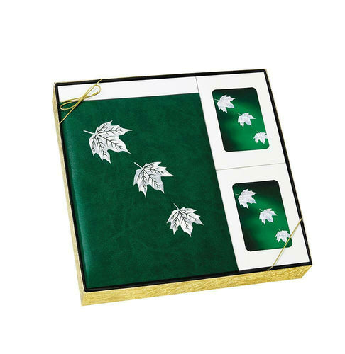 Mother of Pearl Green Leaf Stationery Box Set & 200 Cubic Inch Cremation Urn