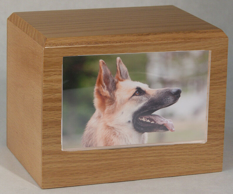 Small 85 Cubic Inches Oak Pet Photo Urn for Ashes with Engravable Nameplate