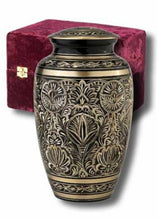 "Load image into Gallery viewer, Brass Cremation Urn w. Velvet Box, 7""  Infant/Pet Size"