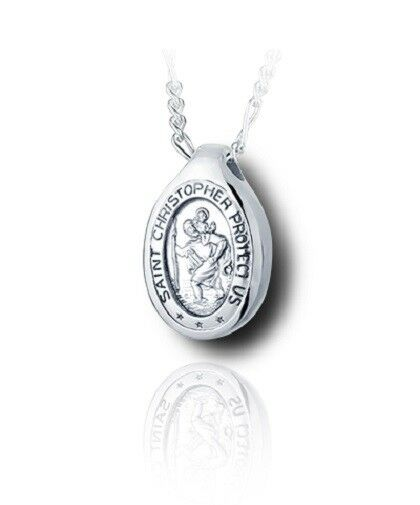 Sterling Silver St. Christopher Funeral Cremation Urn Pendant for Ashes w/Chain