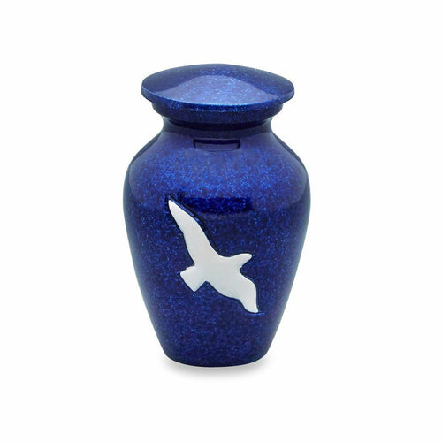 Small/Keepsake 3 Cubic Inches Blue Bird Funeral Cremation Urn for Ashes