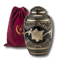 Load image into Gallery viewer, Set of Adult (202 cubic inch) & Keepsake (3 inch) Brass Funeral Cremation Urns