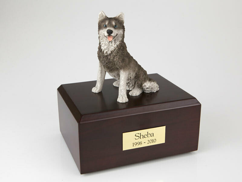 Husky Dog Stand Pet Cremation Urn Available in 3 Different Colors & 4 Sizes
