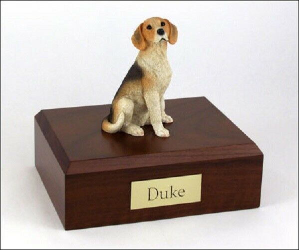 Beagle Pet Funeral Cremation Urn, Engraved, Available 3 Different Colors 4 Sizes