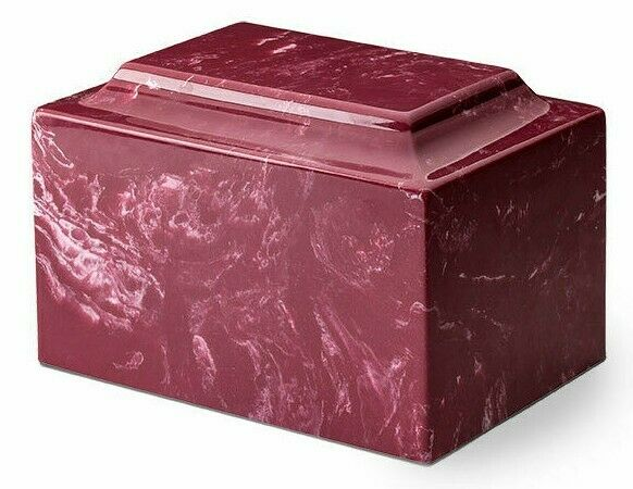 Classic Marble Red 50 Cubic Inches Funeral Cremation Urn For Ashes, TSA Approved