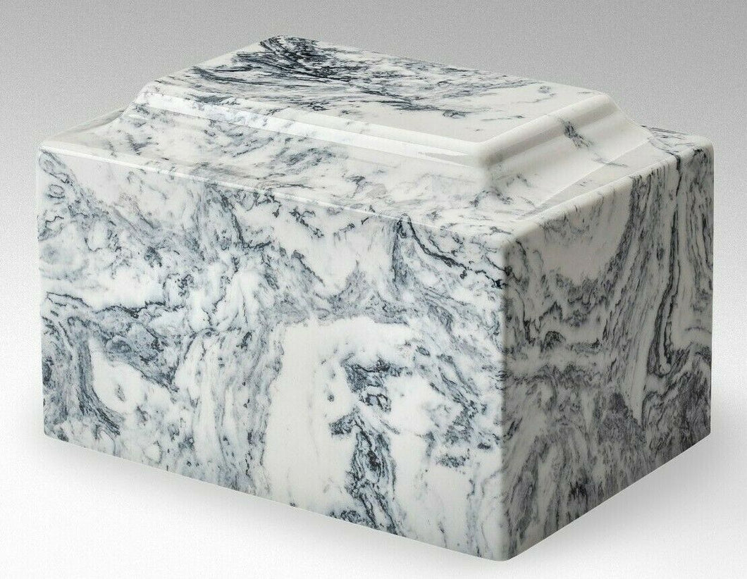 Classic Marble White & Black Oversized 325 Cubic Inch Cremation Urn TSA Approved