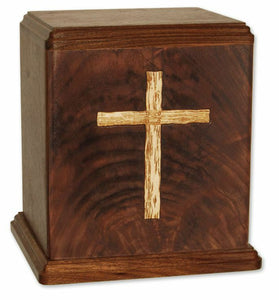 XLarge/Companion 400 Cubic Inch Brown Old Rugged Cross Wood Cremation Urn