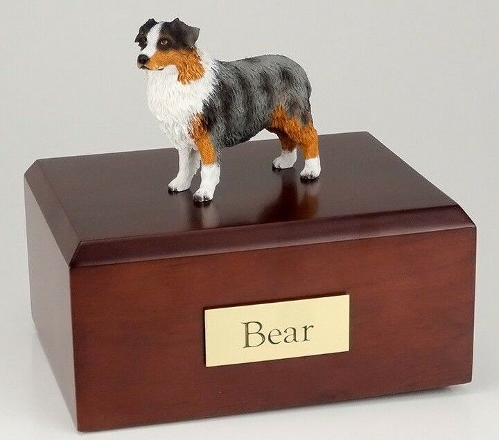 Australian Shepherd Pet Funeral Cremation Urn Avail in 3 Diff Colors & 4 Sizes
