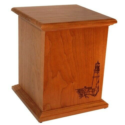 Large/Adult Cherry 220 Cubic Inch Lighthouse Funeral Cremation Urn- Made in USA