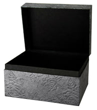 Load image into Gallery viewer, Large/Adult 220 Cubic Inch Embossed Metallic Black Chest Earthurn Cremation Urn