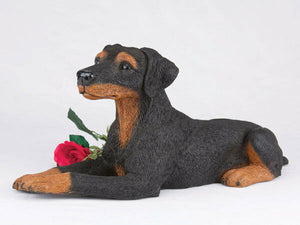 Large 238 Cubic Inches Black & Tan Doberman Pinscher Resin Urn, Ears Down