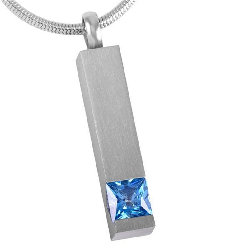 Stainless Steel Blue Stone Funeral Cremation Urn Pendant for Ashes w/Chain