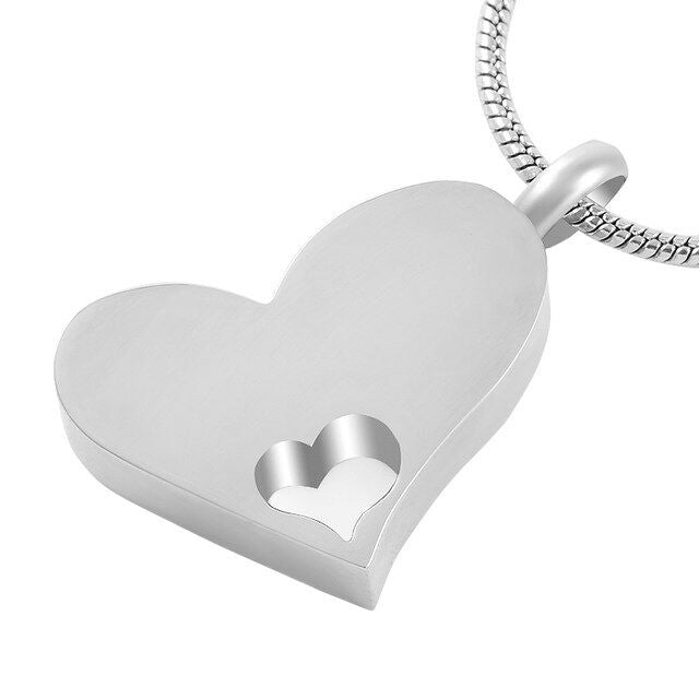 Stainless Steel Heart within Heart Funeral Cremation Urn Pendant w/Chain