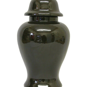 Large/Adult 113 Cubic Inch Black Ceramic Funeral Cremation Urn for Ashes