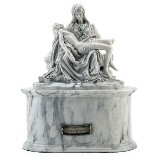 Adult 212 Cubic Inch Pieta Sculptured Resin Cremation Urn for Ashes w. Nameplate