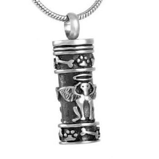 Stainless Steel Cylinder Guardian Dog Angel Cremation Urn Pendant w/Chain