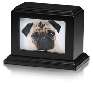 Small/Keepsake 50 Cubic Inch Photo Frame Wood Pet Cremation Urn - Mahogany
