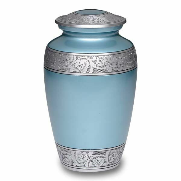 Large/Adult 200 Cubic Inch Blue Alloy Funeral Cremation Urn w/Flower Band