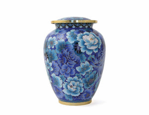 Small/Keepsake Floral Blue Cloisonne Funeral Cremation Urn, 50 Cubic Inches