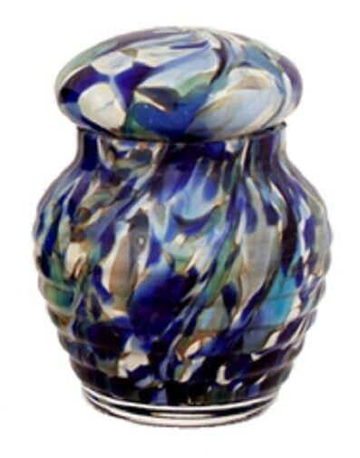 Small/Keepsake 12 Cubic Inch Crystal Ocean Blue Mix Funeral Cremation Urn